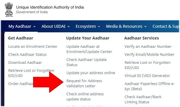 Request for Address Validation Letter