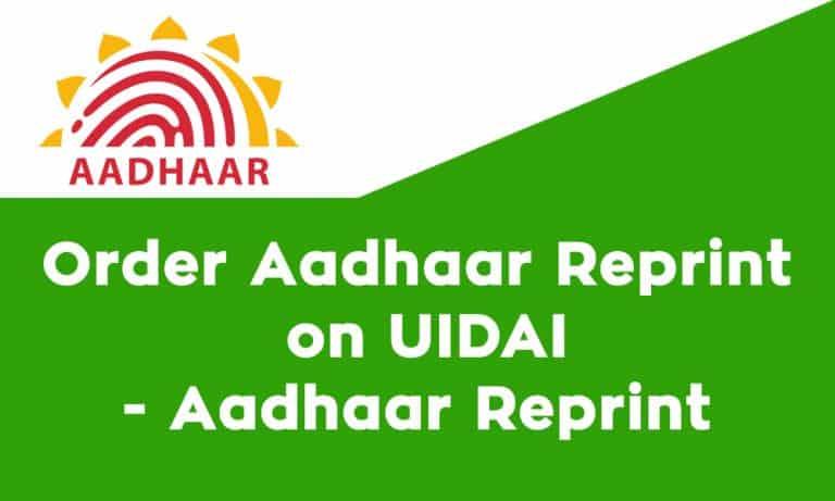 Order Aadhaar Reprint on UIDAI Aadhaar Reprint