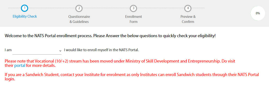 NATS Portal Register Form