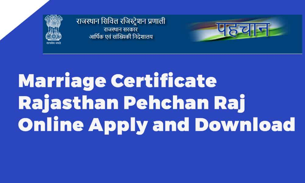 Marriage Certificate Rajasthan Pehchan Raj Online Apply and Download